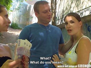 CZECH COUPLES Young Couple Takes Money be advisable for Public Foursome