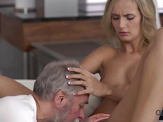 Old4K. Dad and his 18-year-old gold hair woman wife make amazing love