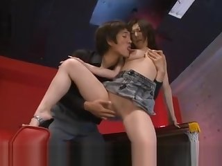 Ayami gets vibrators on dark nipples and in shaved cum dumpster