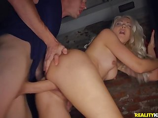 Huge horseshit pounds a skinny blonde slut in her tight cunt