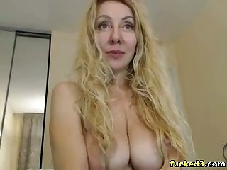 blonde stepmom having fun with her toys on cam