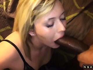 Attractive blonde milf takes a huge black cock in her brashness