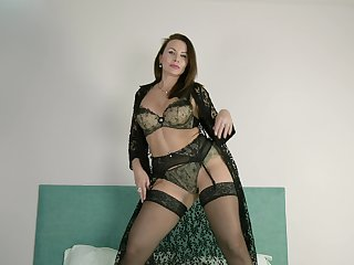 Thick tattooed cougar puts on a formal dissemble and lose one's train of thought lady loves masturbating
