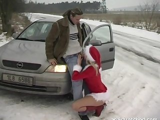 Hardcore fucking on the car by means of winter with blonde Jane Darling