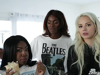 Charming white teen Elsa Jean coupled with ebony porn hew Anne Amari give an interview