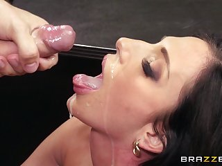Office lady Jaclyn Taylor eats cum from will not hear of boss mesh making out