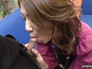 Whorish Asian skirt Riko Miyase gives a blowjob to several guys