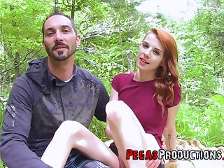Hardcore outdoor fucking in the shut out forest close by redhead Lydya