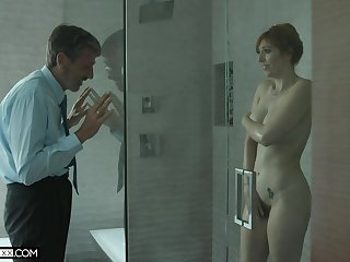 Old creepy man spying more than a hot MILF with big tits in the shower