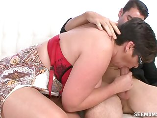 Auntie sucks hammer away dick so awe-inspiring that hammer away young lad cums on will not hear of tits