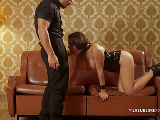Dutiful Valentina Nappi obeys her stern lover's every command