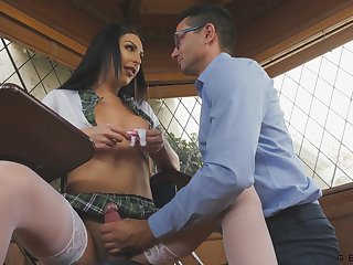 Teacher gives a blowjob to super sexy transsexual student Chanel Santini