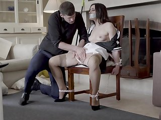 Intriguing abode domination with hammer away chick tied up and gagged