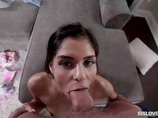 Skinny honey, Katya Rodriguez is licking her simmering partner's large penis, while in his apartment