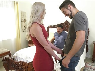 Stunning blonde Kay Carter is having crazy sex fun involving a handful of bisexual dudes