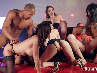 Empty gals share the dicks in insane group interracial orgy