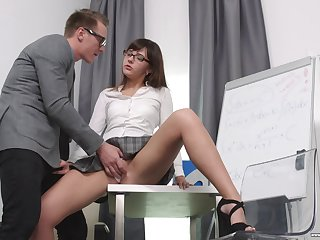 Secretary Katty Blessed drops chiefly her knees to please her boss