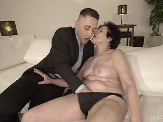 Horny granny is to come wet enough for that young man