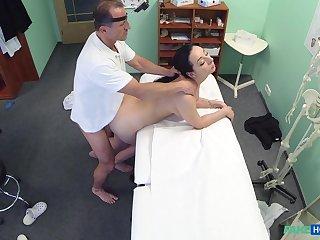 Falsify fucks brunette patient together with films her in taciturn