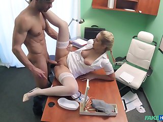 Hot blonde nurse takes care be worthwhile for a handsome, well-endowed patient