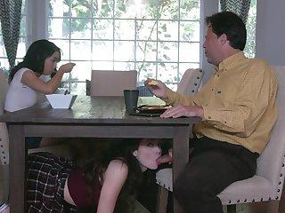 Young teens Jackie Rogen and Aliya Brynn swap cum during dirty threeway