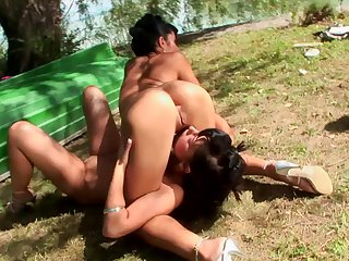 Outdoors foursome on touching double penetration for slutty Lucy Startle