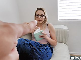 Pervert stepbrother talks his geeky stepsister into sucking his cock