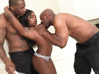 Jaw dropping black chick Noemie Bilas gets double penetrated