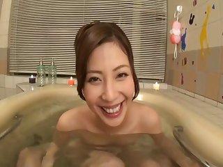 Adorable Japanese girlfriend Miyuki Yokayama rides her lover
