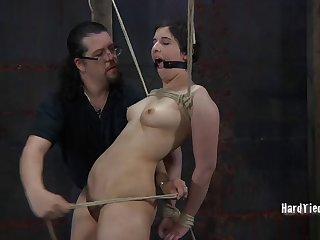 Chubby brunette Marina undressed and poked via anguish session