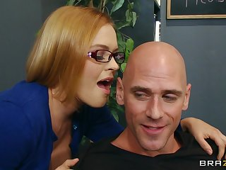 Seductive secretary Krissy Lynn loves having sex on rub-down the office table