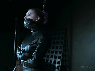 Naked and restrained bitch Lex Luthor gets punished up the BDSM room