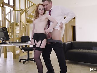 Sexy girlfriend Ella Hughes teases in stockings and rides her BF