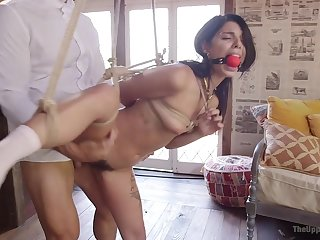 Slave girls Cherie DeVille and Gina Valentina fucked wide of one dude