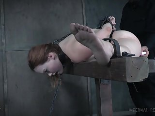 Kinky redhead Summer Hart tied up increased by poked there sexual connection toys