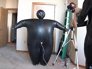 Huge Latex Suit Girl Inflation