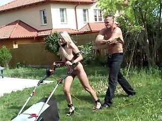 Hardcore outdoors spanking and throat bonking be advisable for sexy Myra Lyon
