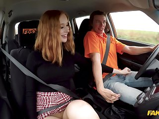 Sluttish student driver Lenina Crowne does rolling in money not far from the instructor