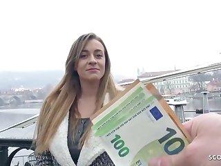 German blond, Josephine got a bunch of money from a stranger, in the air entertain him pierce her