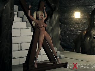 Eternal fuck in someone's skin dungeon! Big hercules plays with a young blonde