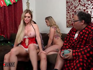 Steamy ash-blonde chick is cuckolding their way colleague fro a junior dude and having a casual 3some