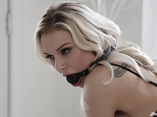Kinky babe Kenzie Taylor with a ball-gag gets fucked from behind